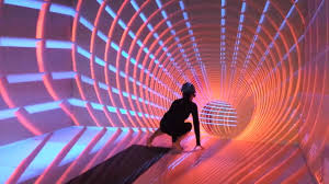 Person Crouching in a Virtual Tunnel